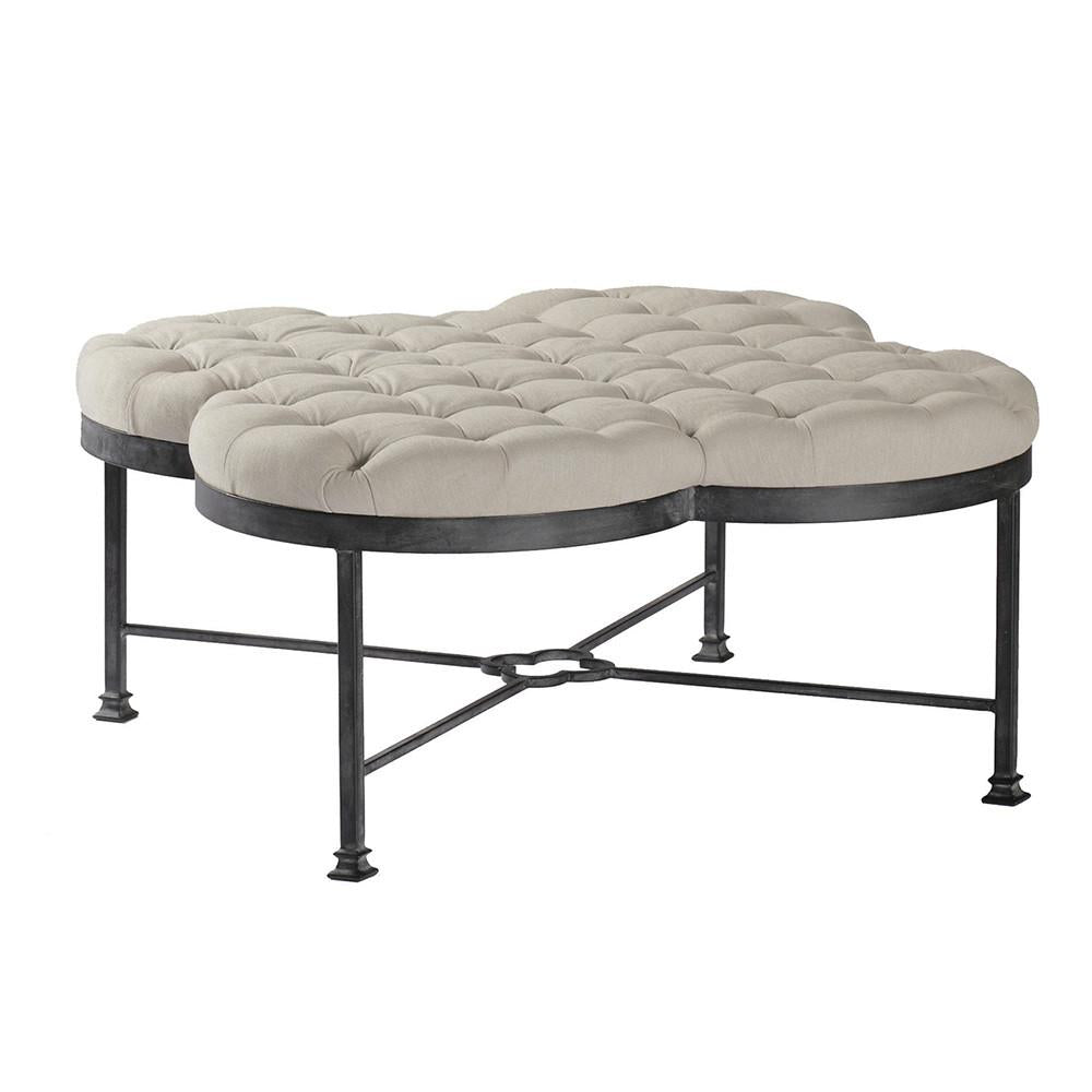 Clover Shaped Tufted Linen Ottoman with Iron Base