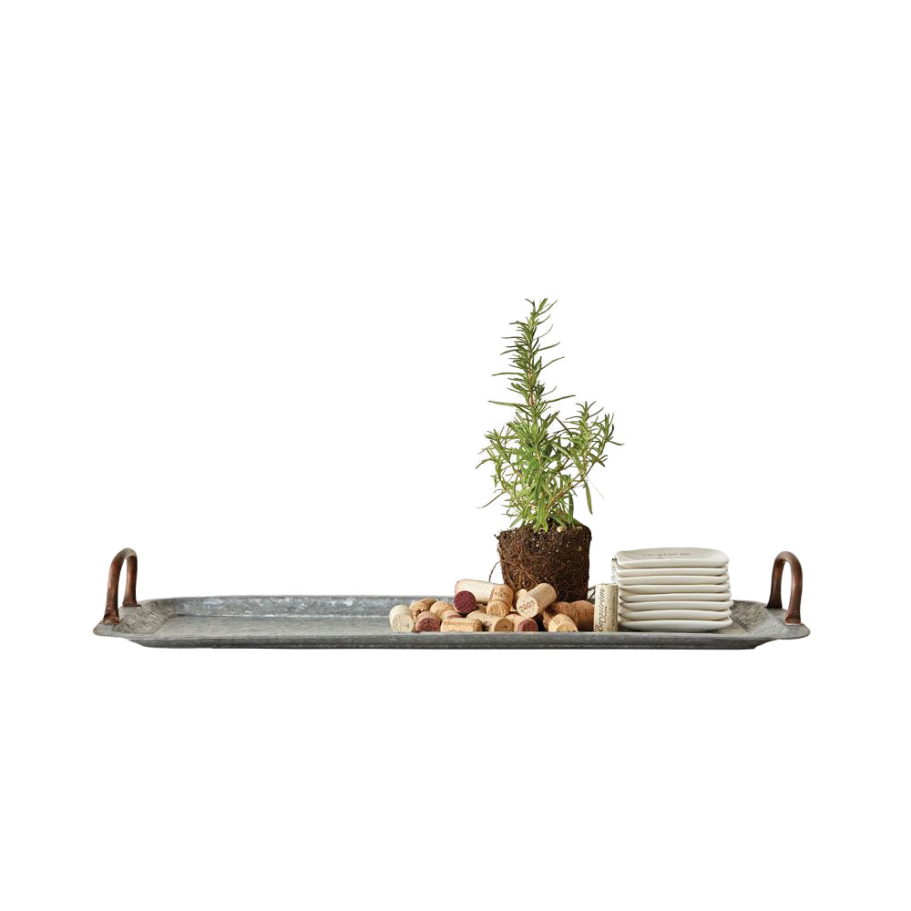Decorative Galvanized Tray with Copper Handles