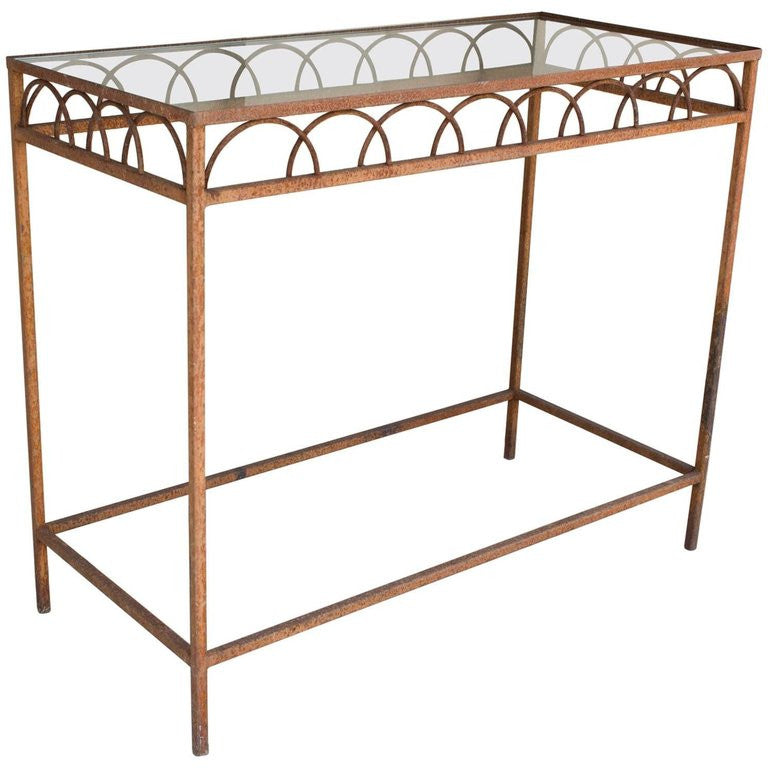 Antique French Iron Glass Bar Height Console Table from a