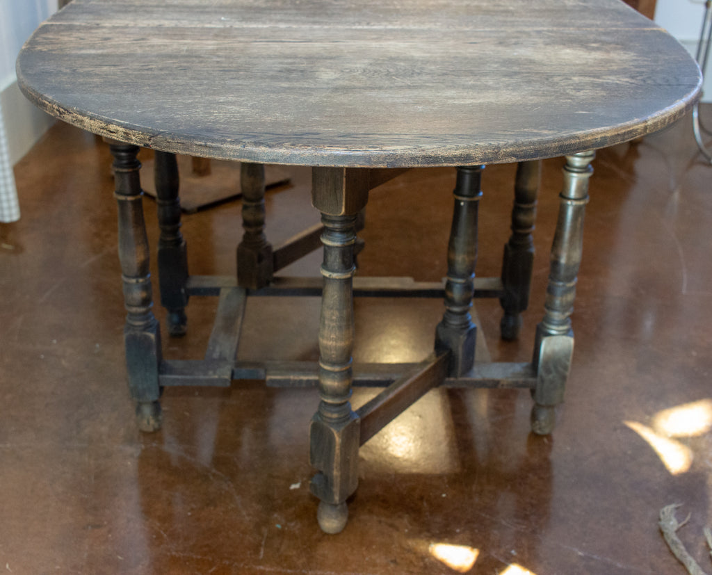 Antique French Oak Ovular Gate Leg Table and Console with Turned Leg Details