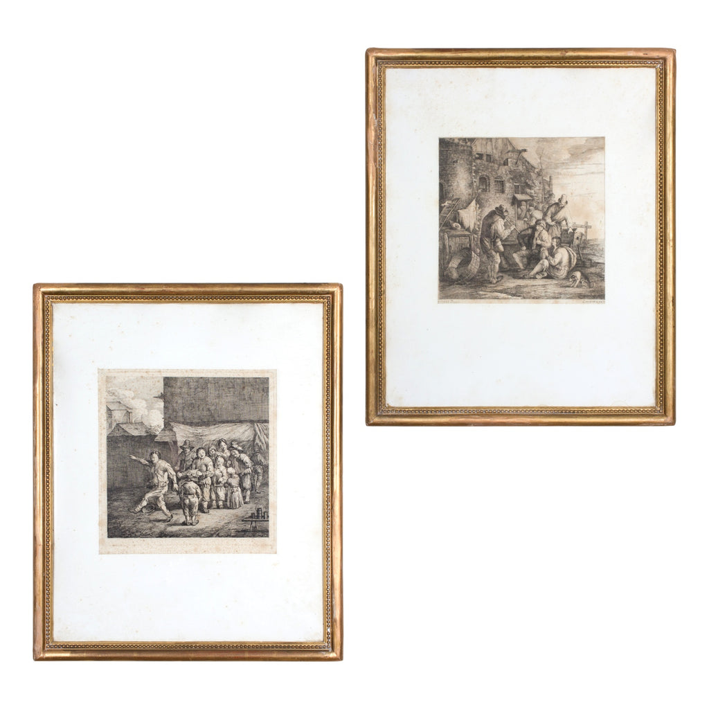 Pair of Antique French Etchings in Gilt Frames