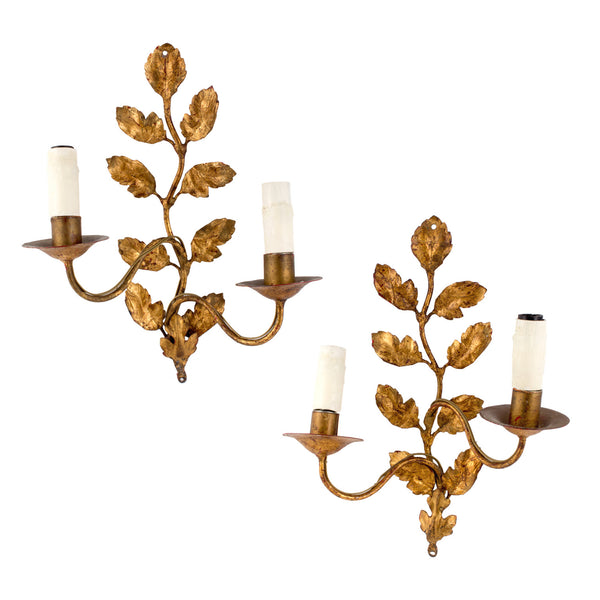 Pair of Antique French Gilt Leaf Sconces