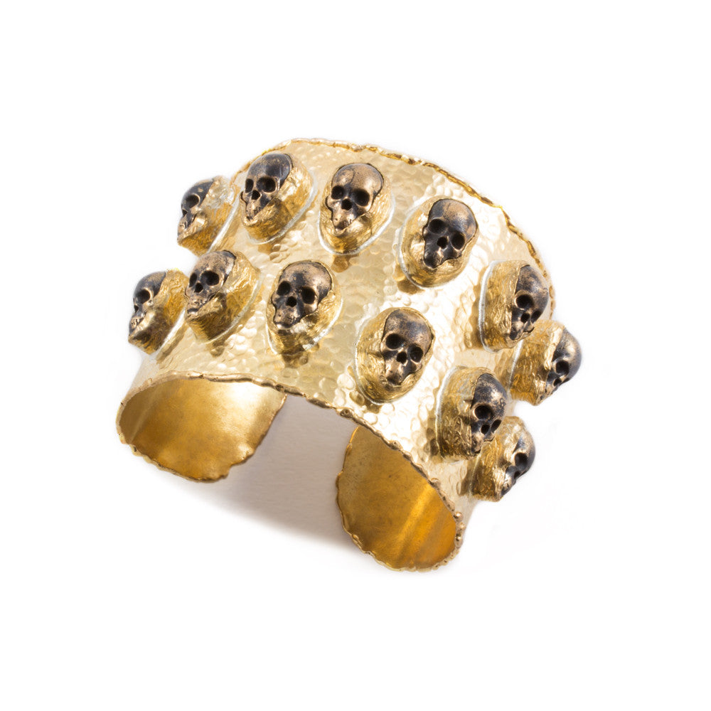 Brass Cuff with Distressed Metallic Skulls from Istanbul