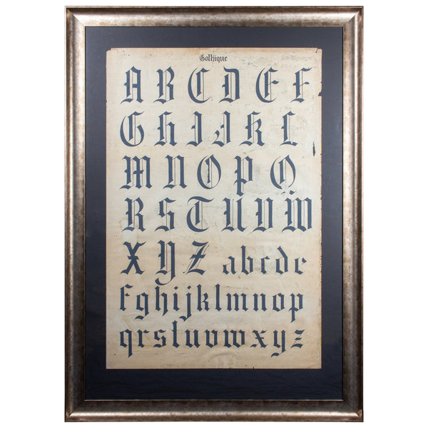 Antique French Gothic Calligraphy Original Art