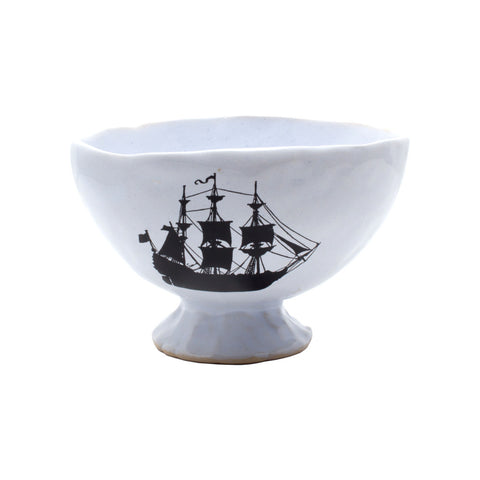 Kuhn Keramik Small Footed Tea Bowl with Ship Design