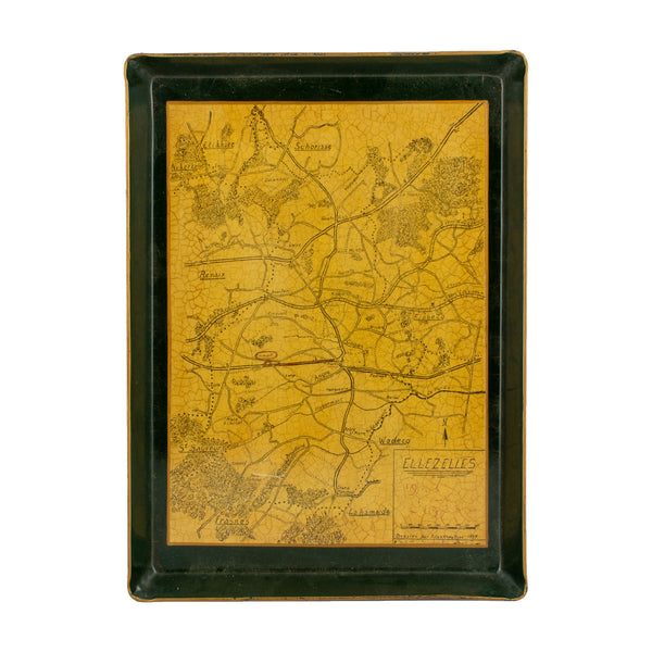 Vintage Belgian Metal Map Tray of Ellezelles, Belgium