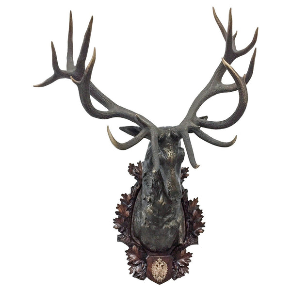 Antique Habsburg Red Stag Trophy on Bronze Shoulder Mount from Eckartsau Castle