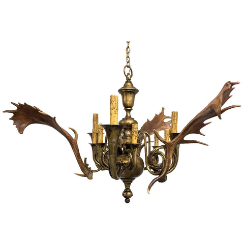 Antique Habsburg Fallow Deer and Fürst Pless Hunt Horn Chandelier