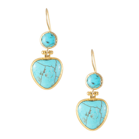 Turkish Delights Earrings: Turquoise Heart Drops