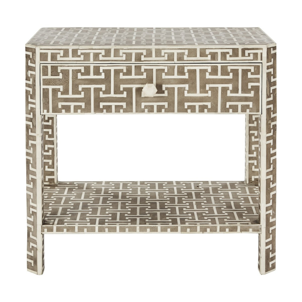 Hermes Inlaid Bone Side Table