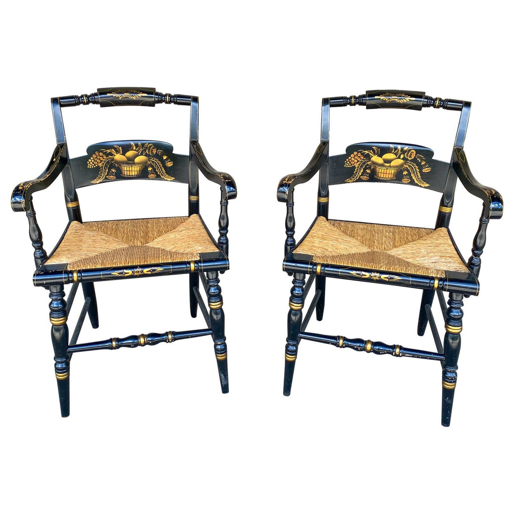 Pair of 1950s American Black and Gold Rush Seat Hitchcock Armchairs