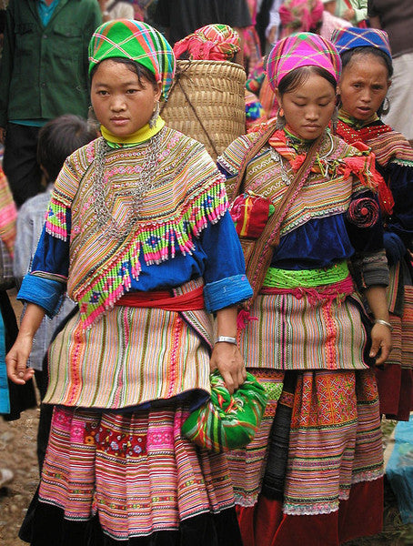 Hmong Embroidered Laos Shoppers with Beaded Drops
