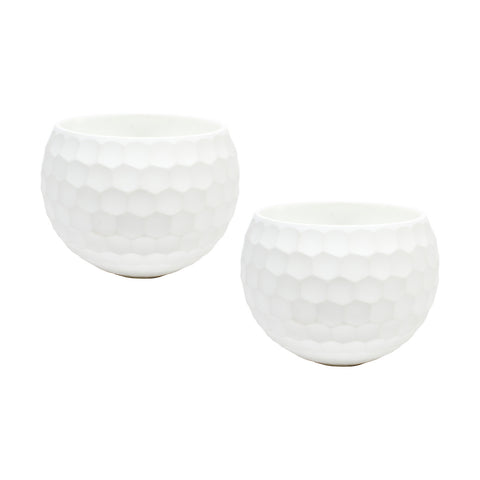 White Ceramic Honeycomb Votive Holders (Pair)