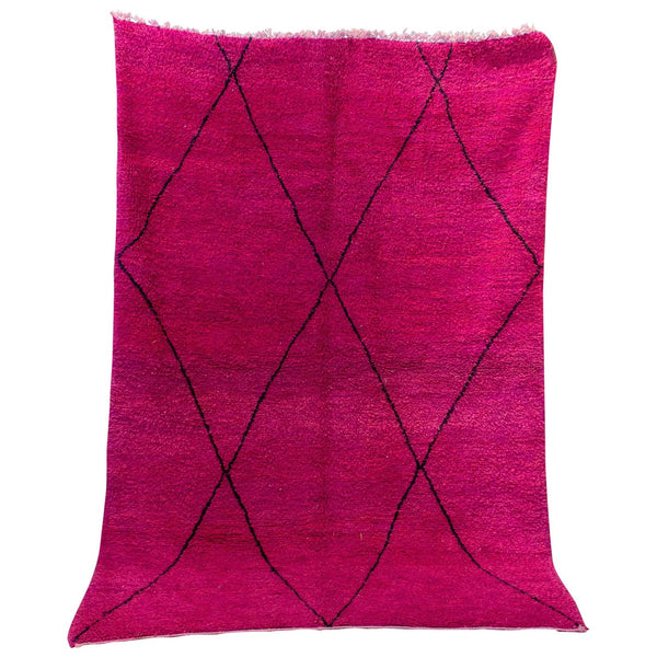 Vintage Moroccan Beni Ourain Double Sided Wool Rug in Hot Pink and Black