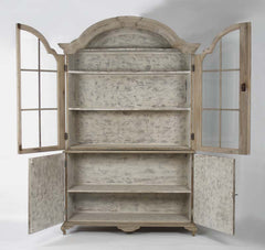 Large Distressed Hugh Cabinet w/ Glass Pane Doors