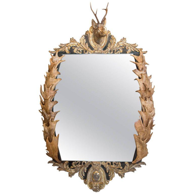 Antique Habsburg Antler Mirror with Roe Trophy & Original Prussian Gorget