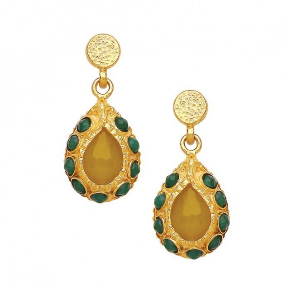 Turkish Delights Earrings: Yellow & Green Pear-shaped Drops
