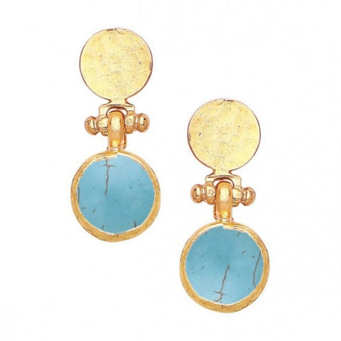 Turkish Delights Earrings: Delicate Turquoise & Gold Disc Studs