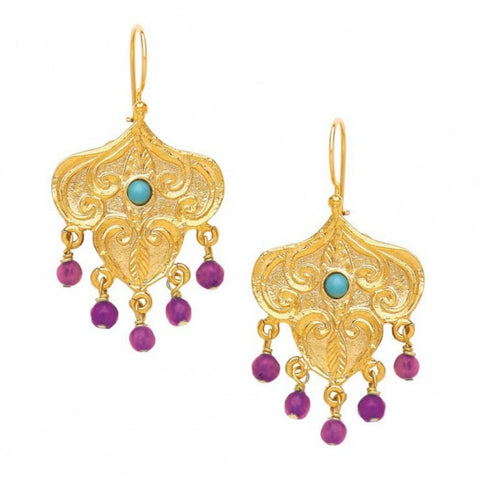 Turkish Delights Earrings: Fuchsia & Turquoise Chandelier on French Wire