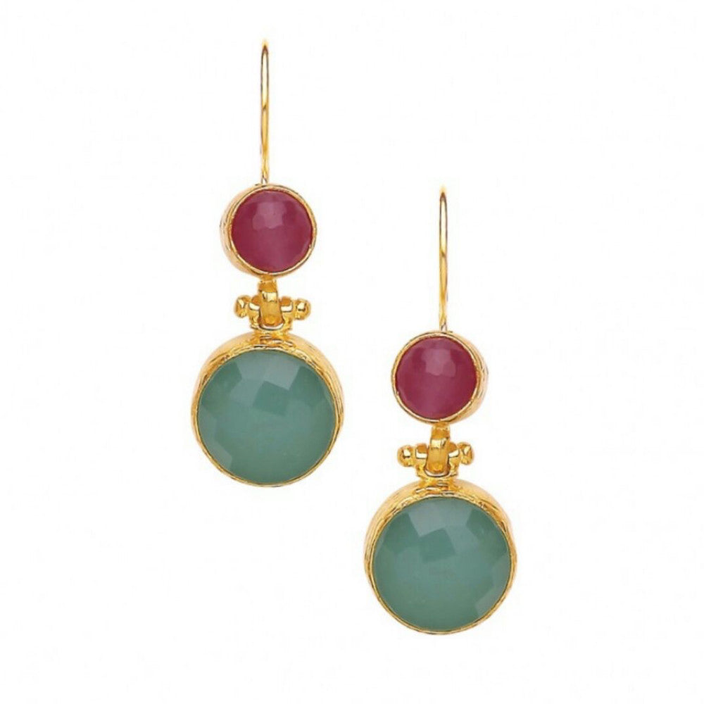 Turkish Delights Earrings: Celadon & Deep Rose Drops