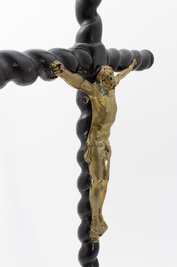 Antique Lacquered Wood & Brass Altar Crucifix found in France