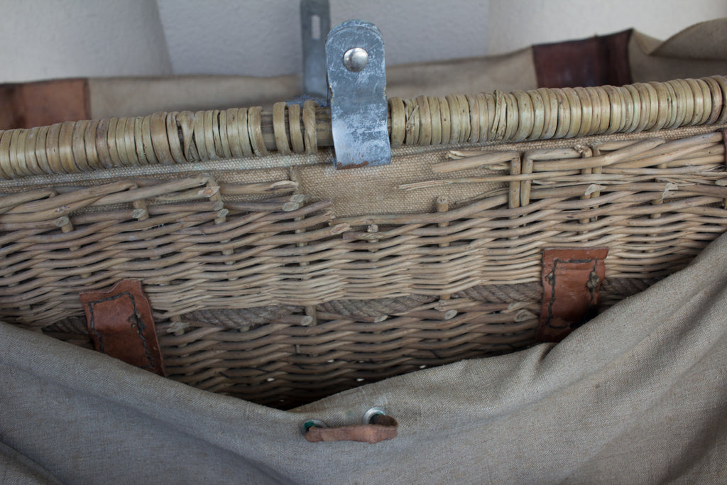 International Red Cross WWII Basket with Leather Straps found in France