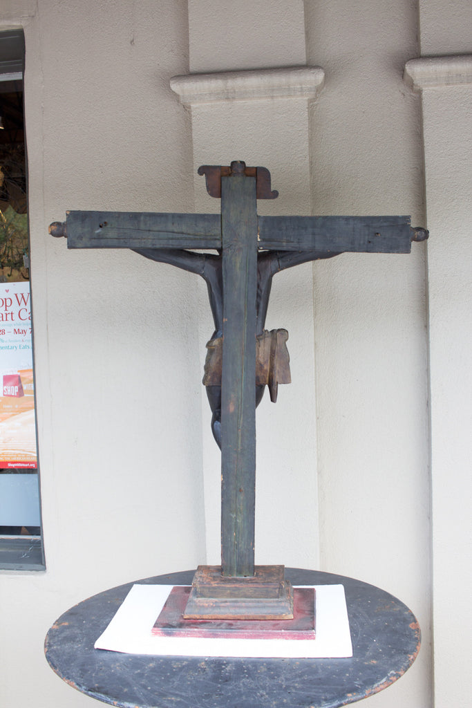 19th Century Spanish Colonial Carved and Painted Crucifix Sculpture