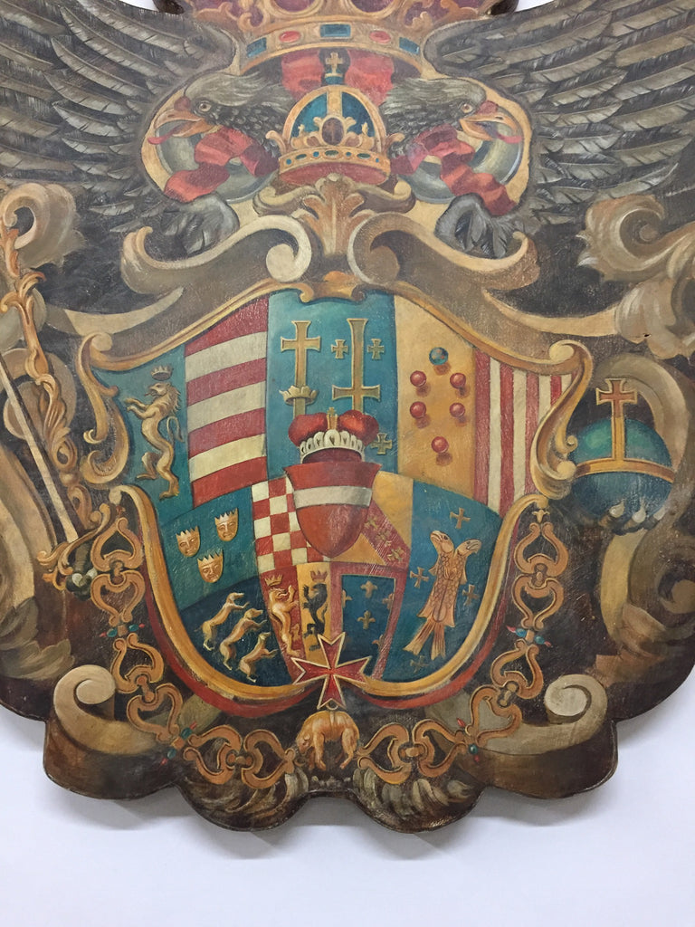Handmade Baronial Crest Plaque on Solid Wood | Habsburg-Lorraine Dynasty