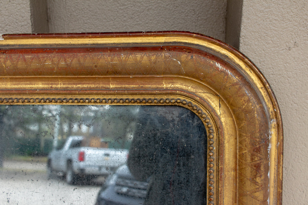 Antique French Gilt Frame Louis Philippe Mirror with Stormy Glass