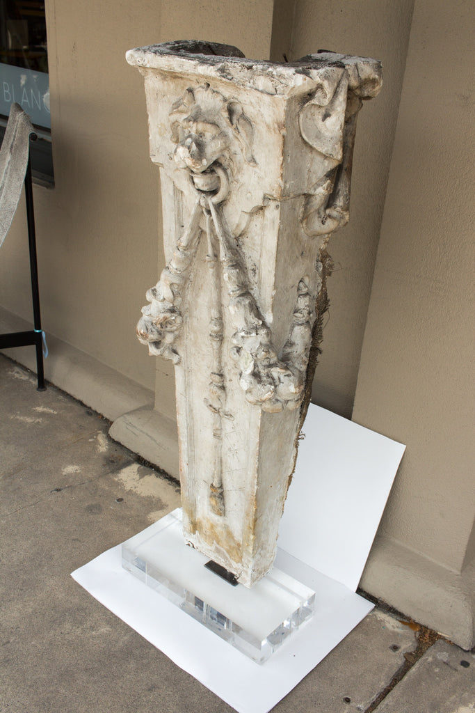 "Large 19th Century Belgian Plaster ""Master"" Architectural Fragment on Acrylic"