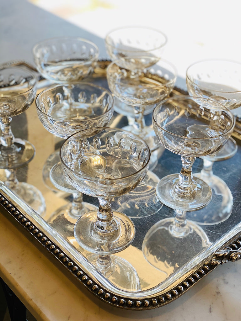Set of 8 Antique French Crystal Champagne Coupes