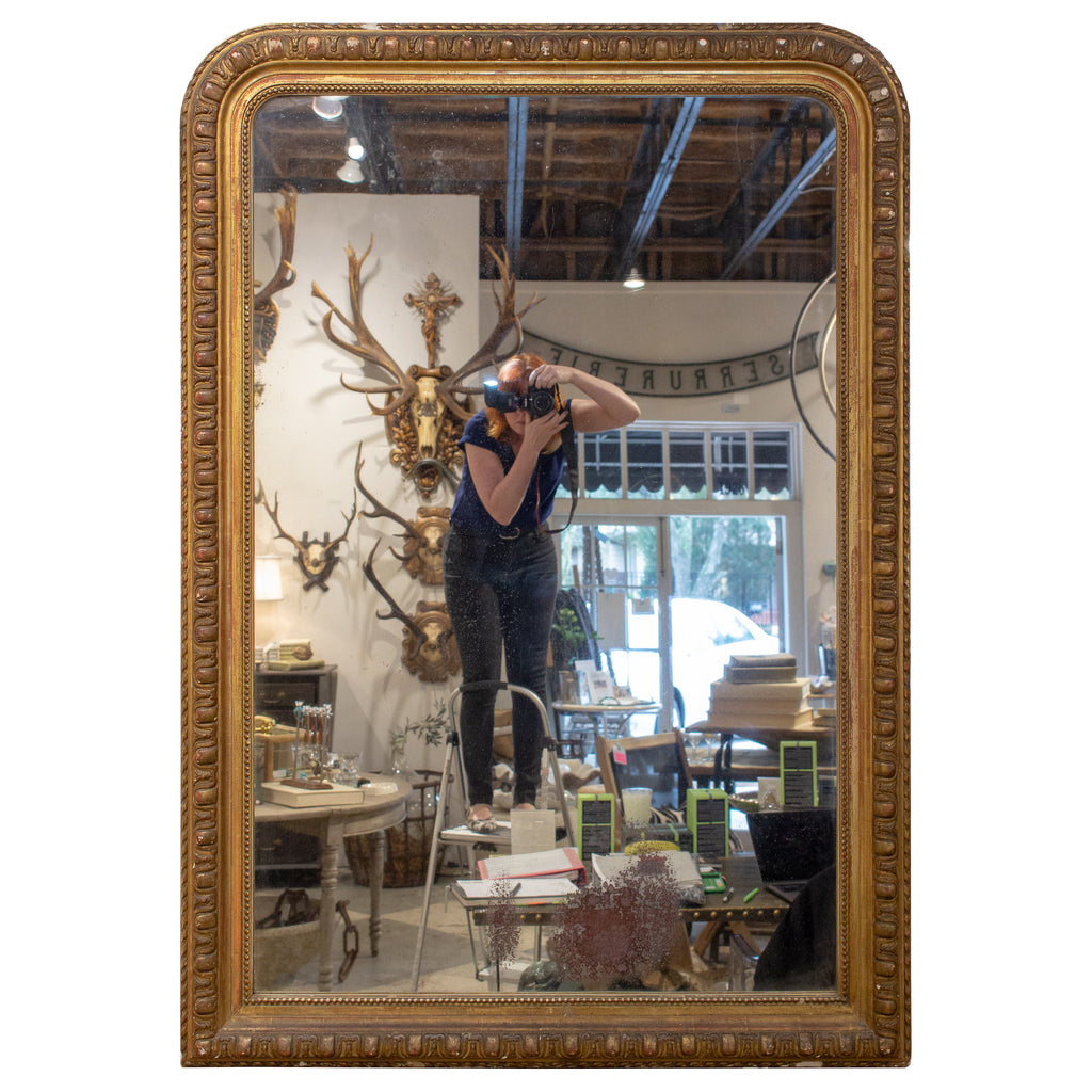 Antique French Louis Philippe Mirror with Carved and Beaded Gilt Frame
