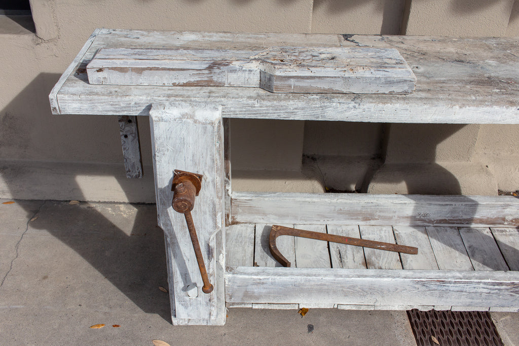 Antique Whitewashed Worktable Console Found in France