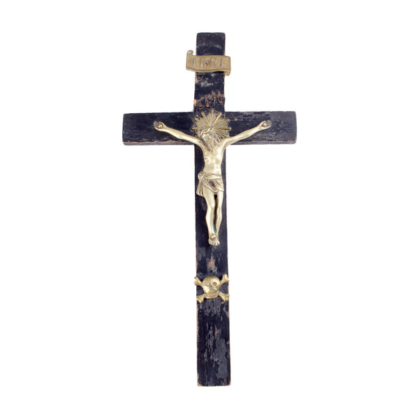 Vintage Italian Wood & Brass Crucifix