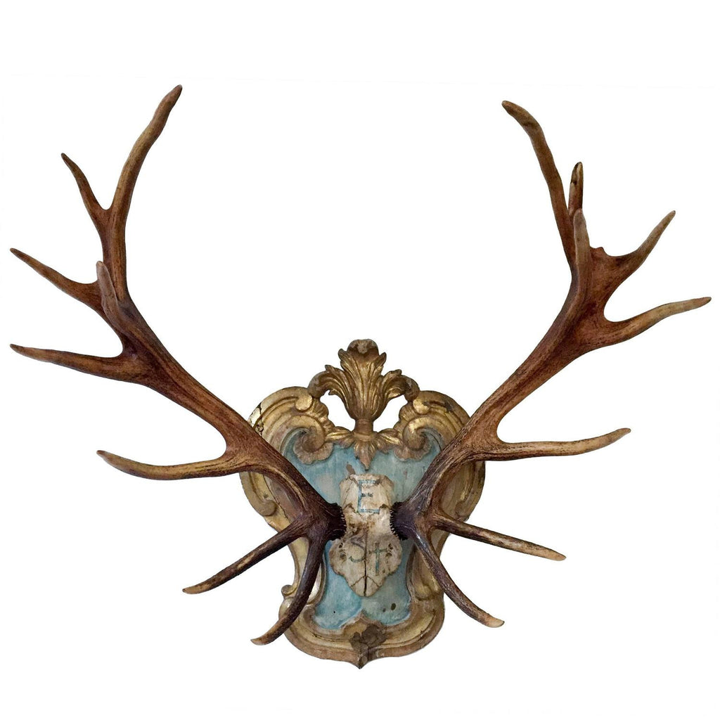 19th Century Red Stag on Late 18th-Early 19th Century Tyrolean Plaque