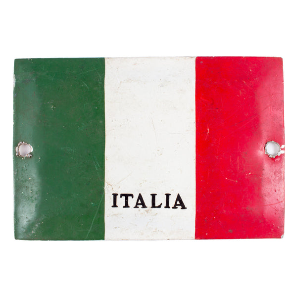 Vintage Metal Italia Flag Plate found in Italy
