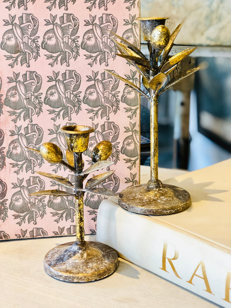 Metal Olive Branch Taper Candle Holders | Two Sizes Available