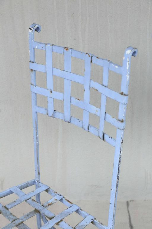 Set of Four Antique Iron Lattice Light Blue Belgian Chairs