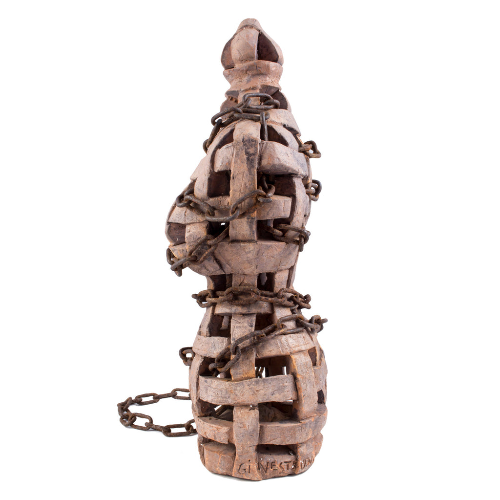 Terracotta & Chain Bust by Italian artist Giovanni Ginestroni