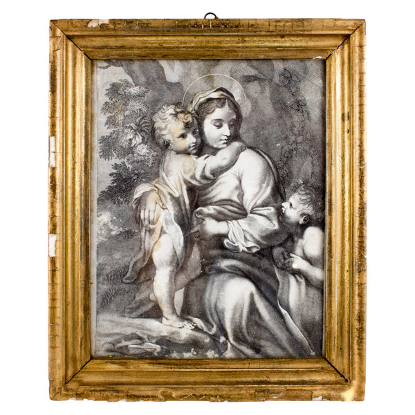 Antique 18th Century Framed Blessed Mother Etching found in Italy