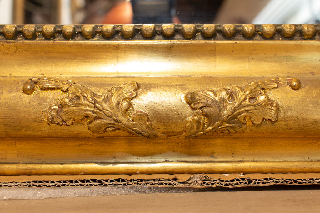 Antique French Bright Gold Gilt Wood Louis Philippe Mirror with Floral Carvings