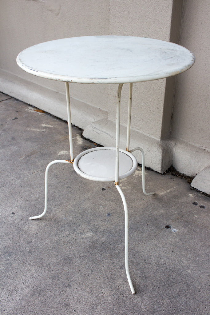 Vintage French Round Metal Bistro Table (ca. 1930s)
