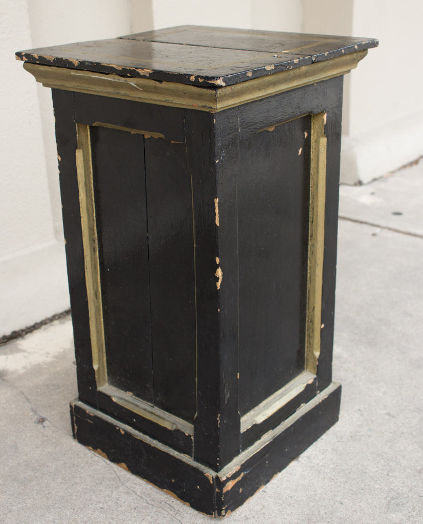 Antique French Painted Wood Pedestal Table in Black & Gold