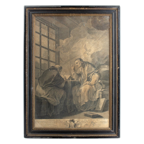 Antique Framed Etching of Saint Gregory the Great, by I.A. Marlinet