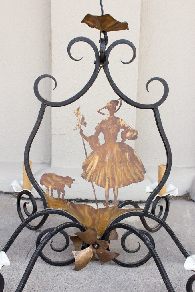 Antique French Iron and Brass Little Bo Peep Chandelier