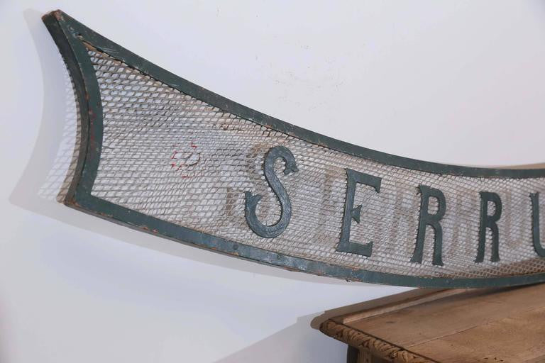 "Large Antique French ""Serrurerie"" Locksmith Swag Sign"