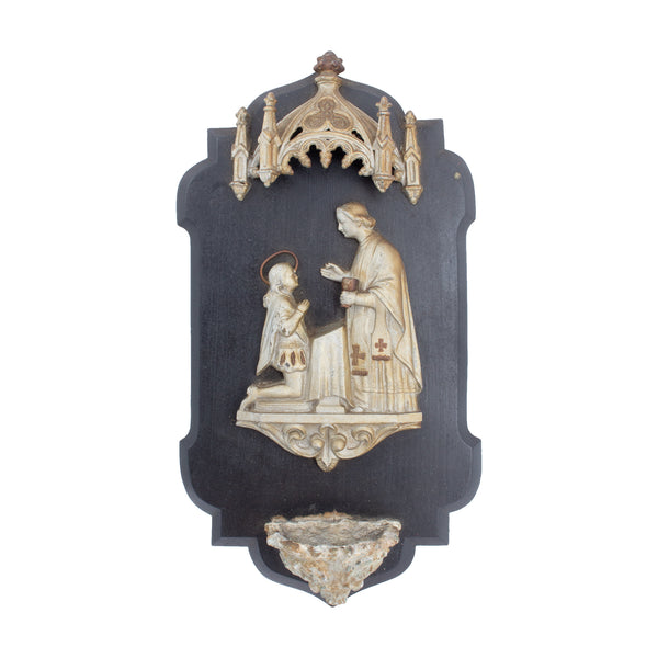 Antique French Holy Water Font Plaque