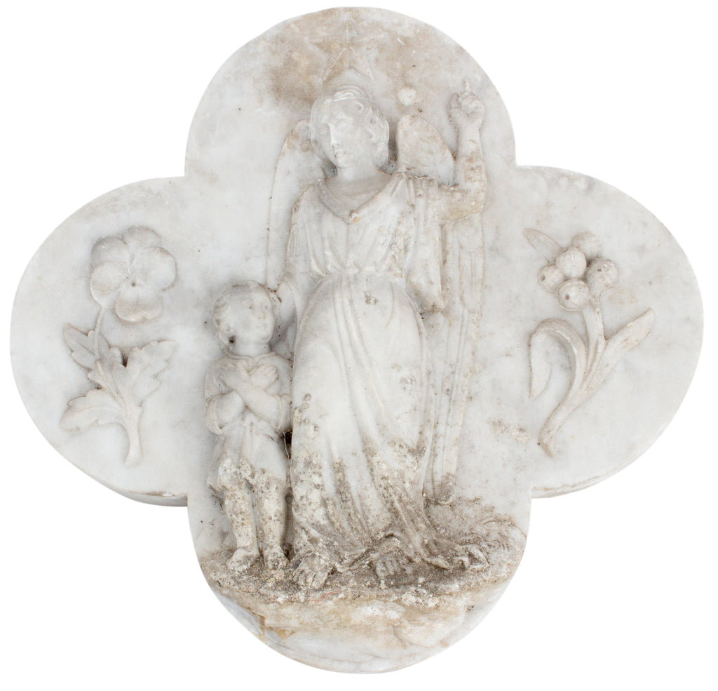 Antique French Marble Angel Plaque