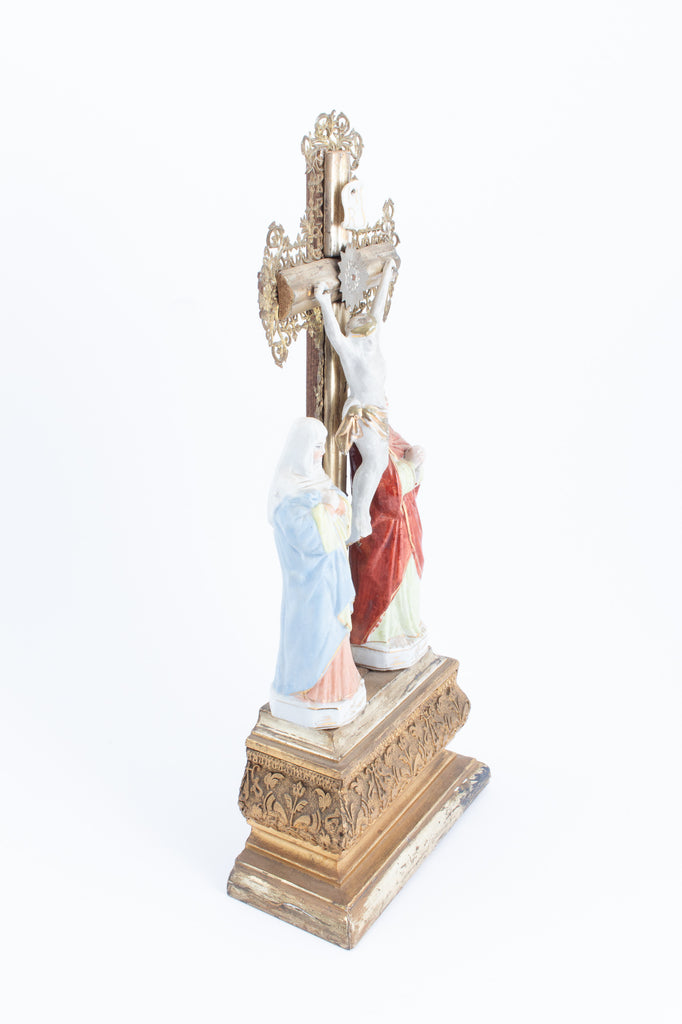 Antique French Standing Gilt Wood Altar Crucifix with Porcelain & Metal Filigree