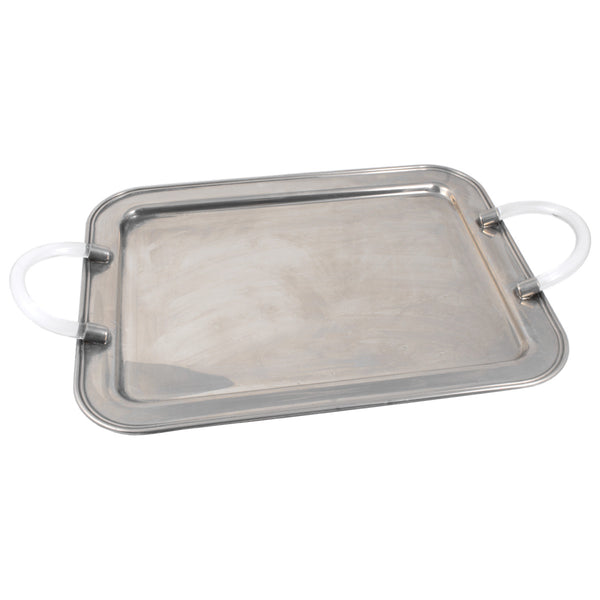 Mid-Century Metal Tray with Acrylic Handles Found in France